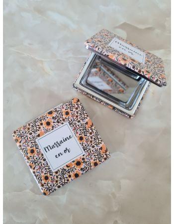 "Miroir de poche ""Marraine en or"""