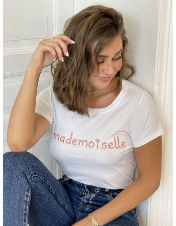 Tee-shirt Mademoiselle Blanc/rose